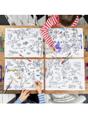 World Map - interactive placemat / 4 set / for coloring, color and learn