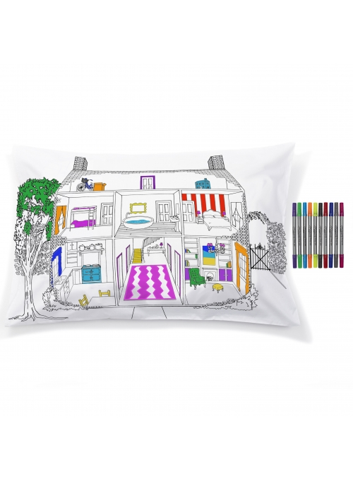 Dollhouse - interactive pillowcase 75x50cm, color and learn