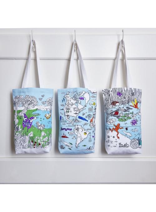 Život v rybníku - veľká taška na plece - vyfarbuj a uč sa