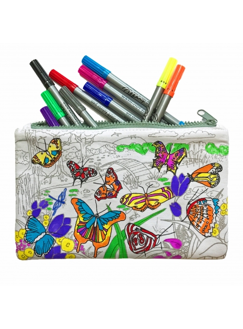 Butterfly Garden - interactive pencilcase for coloring - color and learn