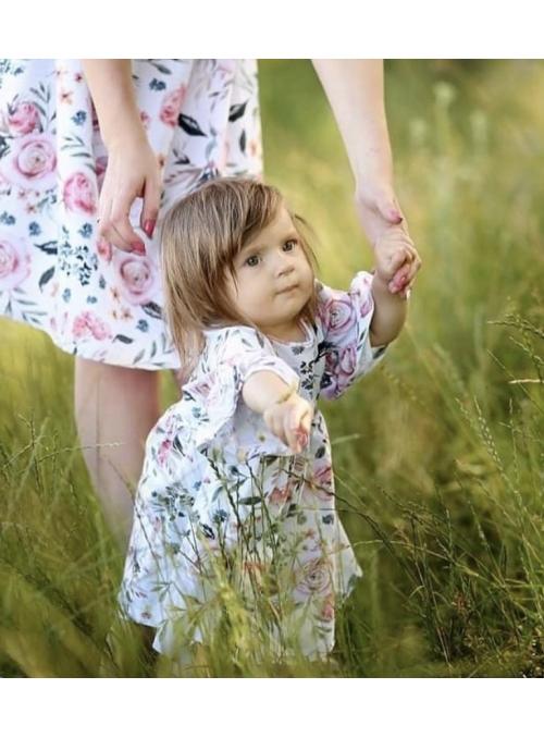 Dětské šaty růžová zahrada