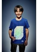 Modré dětské zábavní iluminační tričko /zelená svítící plocha/ + laser pero