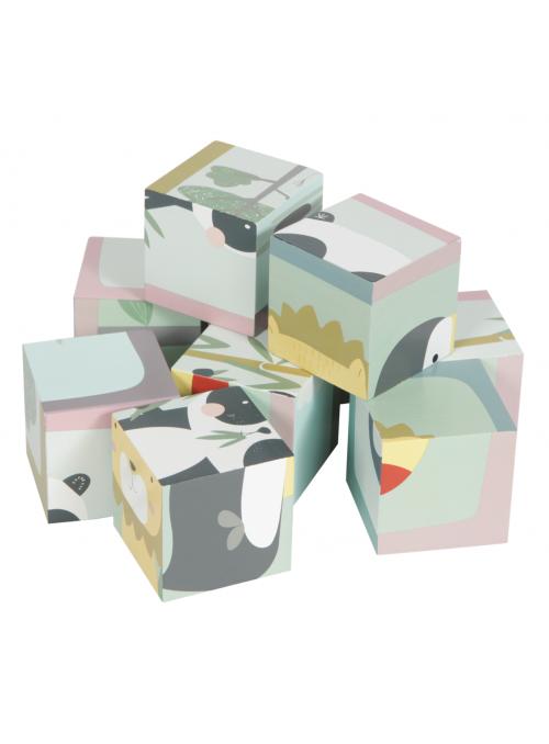 Drevené kocky so zvieratkami, 9 kusov