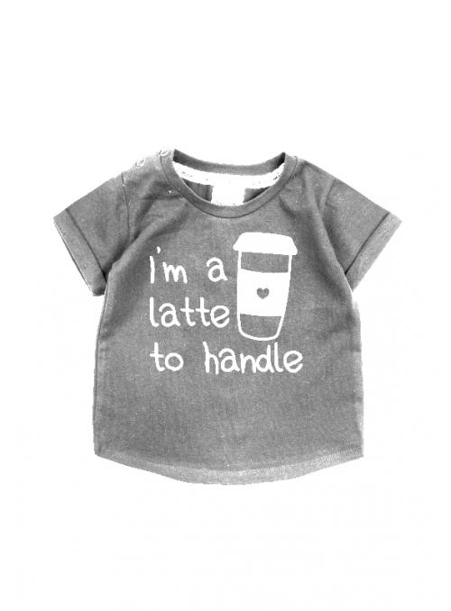 I´m a latte to handle – detské tričko, šedé - 110/116