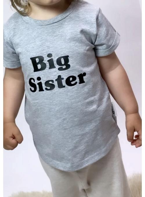 Tričko BIG SISTER, šedé