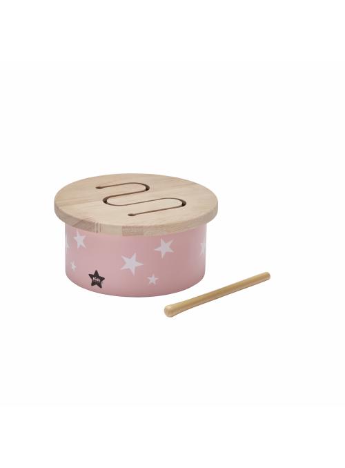 Dětský mini dřevěný buben, růžový