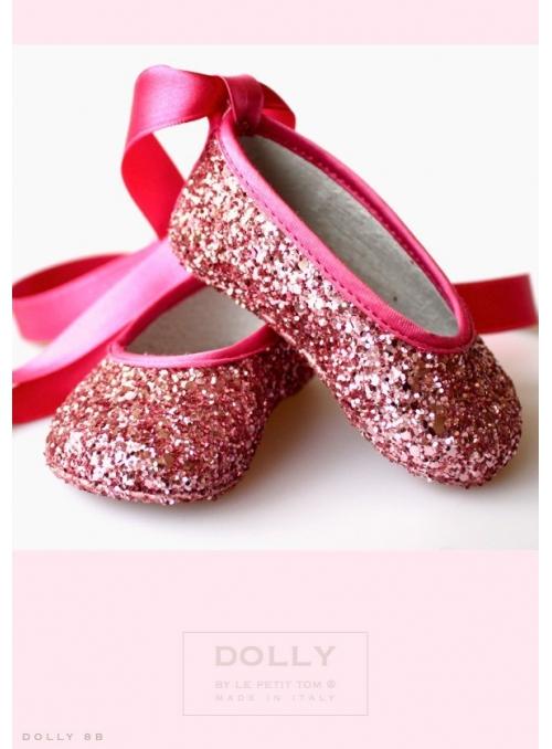 BABY balerínky 8B trblietavé ružové