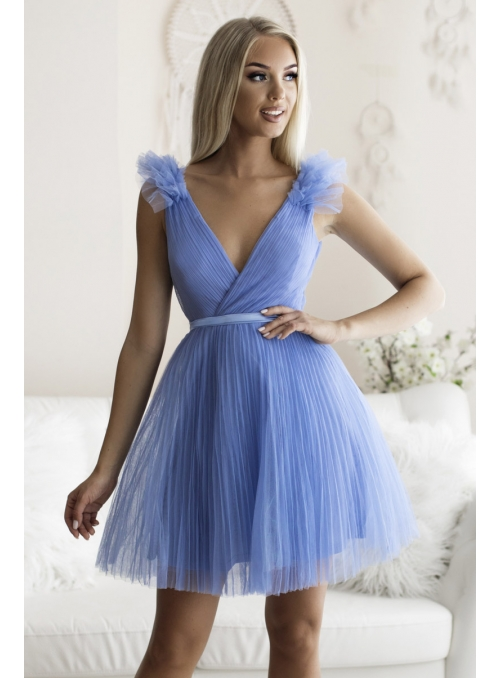 Olivia - mini šaty, bledomodré - S