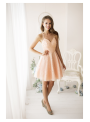 Amelia - mini šaty s perličkami, broskyňové - S