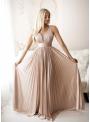 Maxi pudrovoružové plisované šaty - L