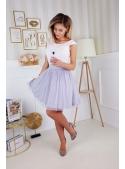 Amia - mini padavé šaty s mašlí, nebíčkové