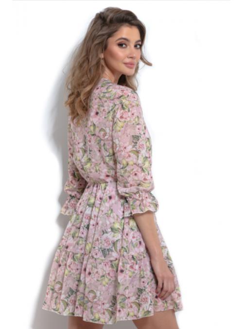 Jarná lúka - mini padavé šaty s kvietkami a 3/4 rukávom - S