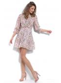 Jarní louka - mini padavé šaty s kvítky a 3/4 rukávem