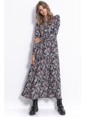 Mistical - padavé šaty s dlouhým rukávem