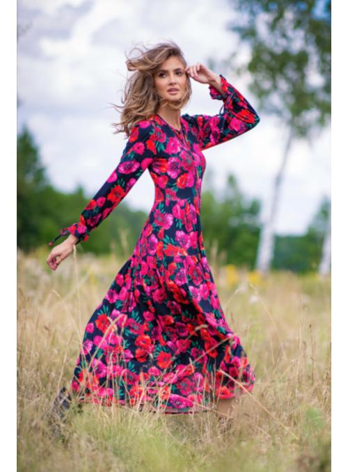 Lúčny sen - padavé šaty s dlhým rukávom - S