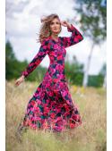 Luční sen - padavé šaty s dlouhým rukávem