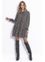 Peacock - padavé mini šaty s dlhým rukávom - S