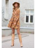 Ceylonflower - hořčicové padavé mini šaty s dlouhým rukávem