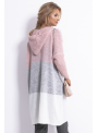 Midi dámsky kardigán s kapucňou, ružový - UNI