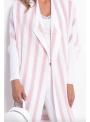Midi dámsky pásikavý kardigán, bielo-ružový- UNI