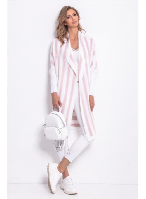 Midi dámský proužkový kardigan, bílo-růžový
