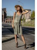 Olivka - dámské šaty s vázačkou, olivové