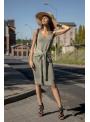 Olivka - dámske šaty s viazačkou, olivové - UNI