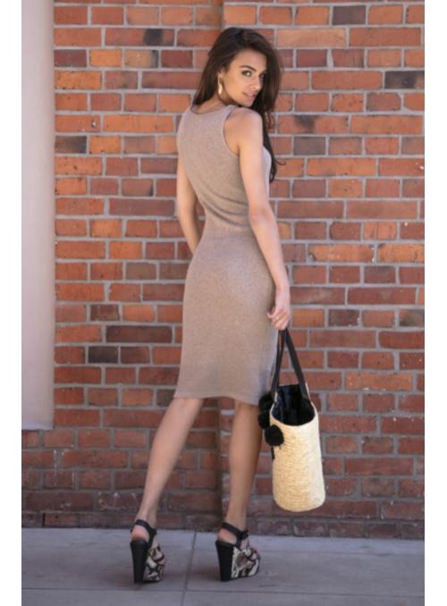 Mocca - dámske šaty s viazačkou, kávové - UNI