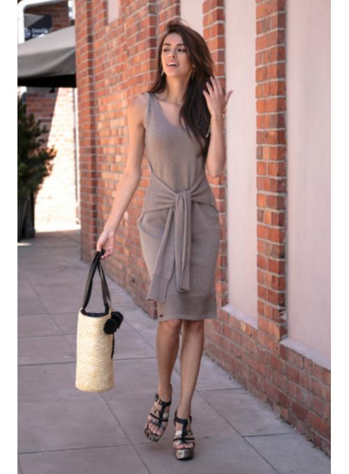 Mocca – dámské šaty s vázačkou, kávové
