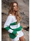 Trendy svetr s proužky, bílo-zelený
