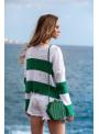 Trendy sveter s pásikmi, bielo-zelený - UNI