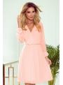 Mini šaty s plisovanou sukňou a dlhým rukávom, broskyňové - S