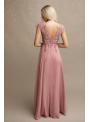 Rosalina - Maxi šaty s čipkou a padavou sukňou- S