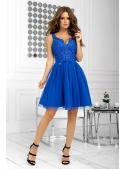 Bella via - mini šaty s krajkou a padavou sukní, modré