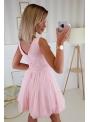 QUEEN - mini šaty s čipkou a padavou sukňou, ružové - XS