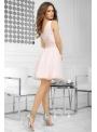 QUEEN - mini šaty s čipkou a padavou sukňou, broskyňové - XS