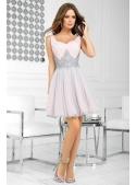 QUEEN - mini šaty s krajkou a padavou sukní, růžovo šedé
