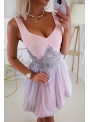 QUEEN - mini šaty s čipkou a padavou sukňou, ružovo šedé - XS