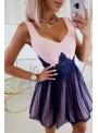 QUEEN - mini šaty s čipkou a padavou sukňou, ružovo tmavomodré - XS