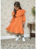 Pomerančové dětské šaty s volánem