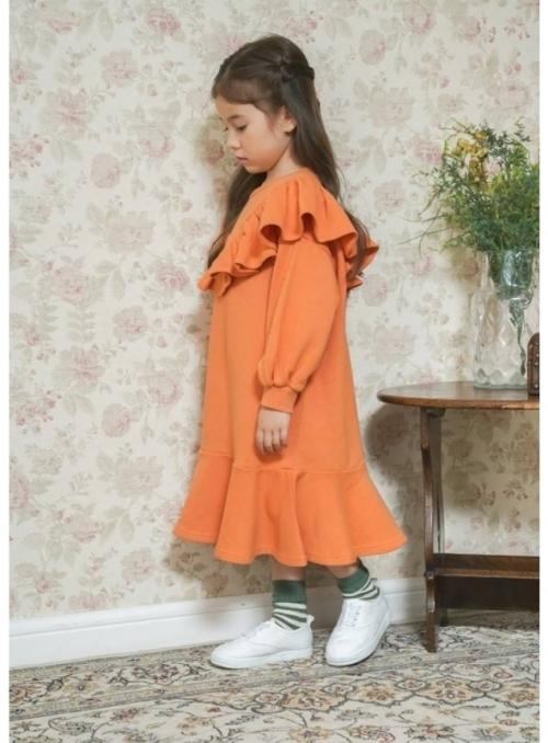 Pomerančové dámské šaty s volánem, uni