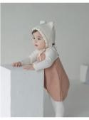 Krémová dětská čepice s oušky