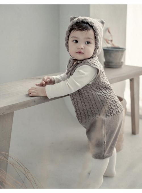 Dětské pletené body, hnědé