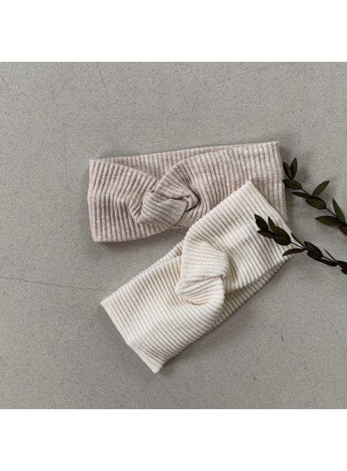 Dětská pletená čelenka, krémová natural