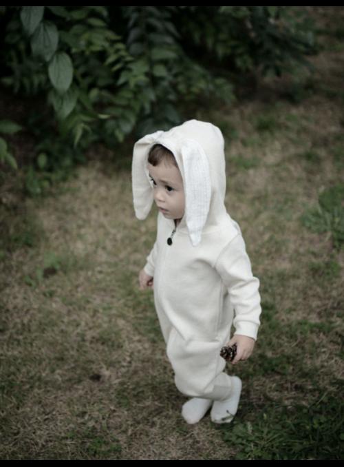 Béžové detské body s uškami ZAJKO - 12-18 mesiacov