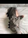 Šedé detské body TYRANOSAURUS - 0-6 mesiacov