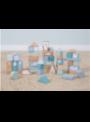 Dřevěné kostky v krabici, modrá sada