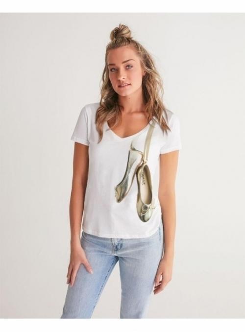 dámské tričko s V-výstřihem - Zlaté baleríny