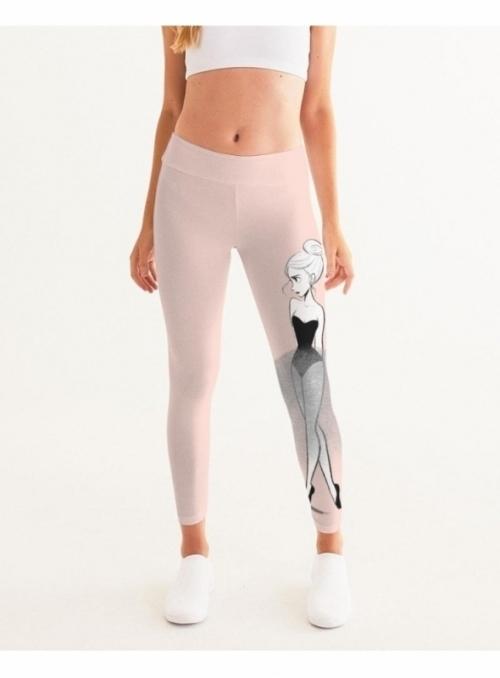 dámske yoga DOLLY doodling legíny, pudrovo ružové- XS