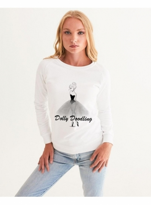 dámska DOLLY doodling mikina, biela - XS